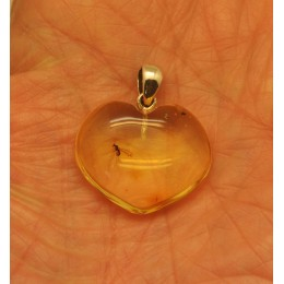 Heart shape Baltic amber pendant with insect