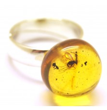 Baltic amber ring with insects