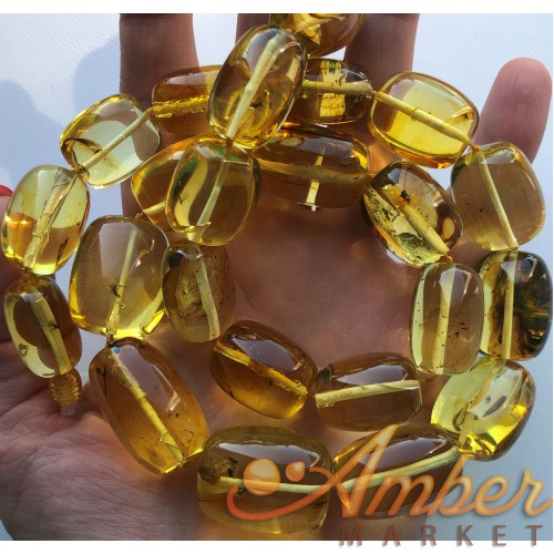 Amber barrel shape necklace with insects 104 g