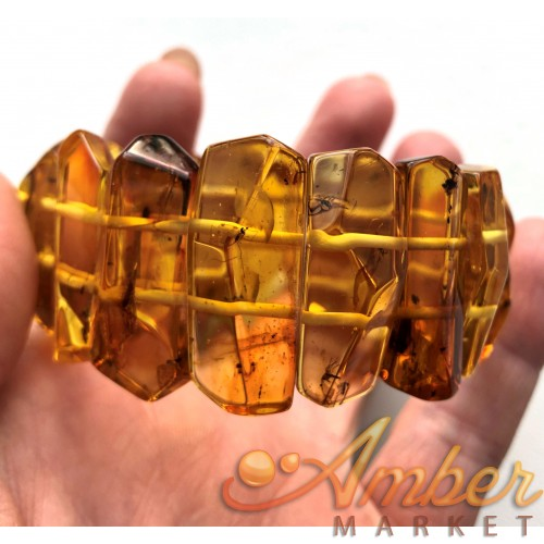 BALTIC AMBER Bracelet with FOSSIL INSECTS