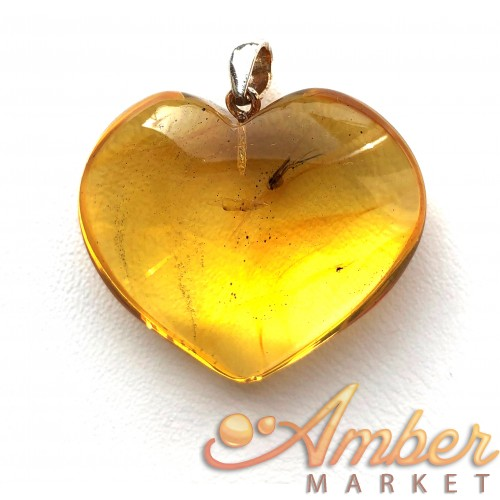Genuine BALTIC AMBER Heart Pendant with Fossil INSECT