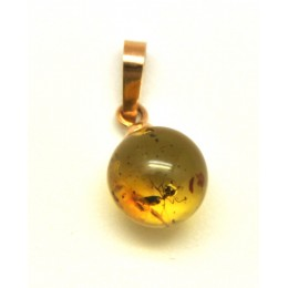 Baltic amber round gold pendant with insect