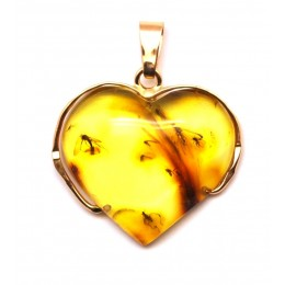 Heart shape Baltic amber gold pendant with insects
