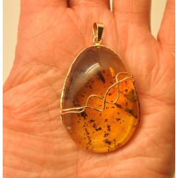 Big Baltic amber gold pendant with insect 12 g.