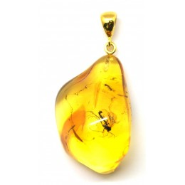 Baltic amber pendant with insects