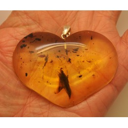 Big Baltic amber heart pendant with insects 16 g.