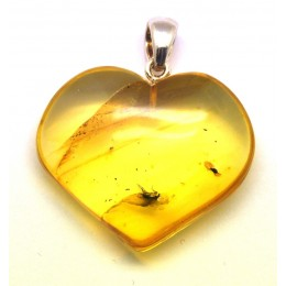 Baltic amber heart pendant with insect