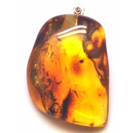 Big natural shape Baltic amber pendant with insects 20 g.