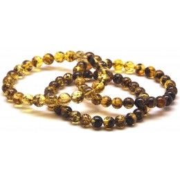 Lot of 3 green round beads amber bracelets