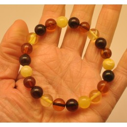 Multicolor round beads amber bracelet  9 - 10 mm.