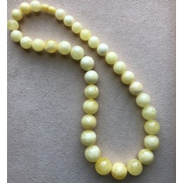 Natural AMBER NECKLACE Yellow White Round Beads
