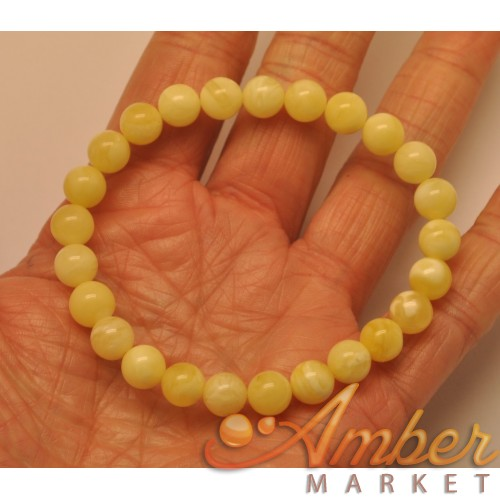 Natural round beads amber bracelet  8 mm.