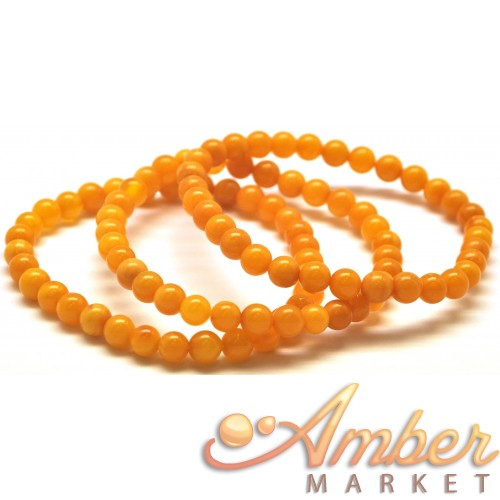 3 Antique color round beads amber bracelets 6 mm.