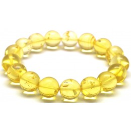 Natural transparent round beads Baltic amber bracelet 13 mm.