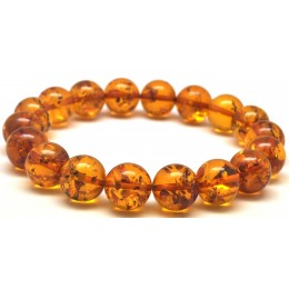 Cognac round beads Baltic amber bracelet  11,5 mm.