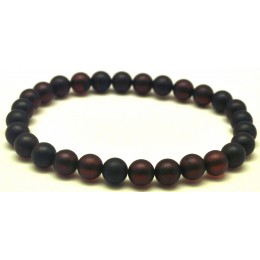 Cherry round beads unpolished Baltic amber bracelet  8 mm.