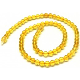 Round beads lemon  Baltic amber necklace