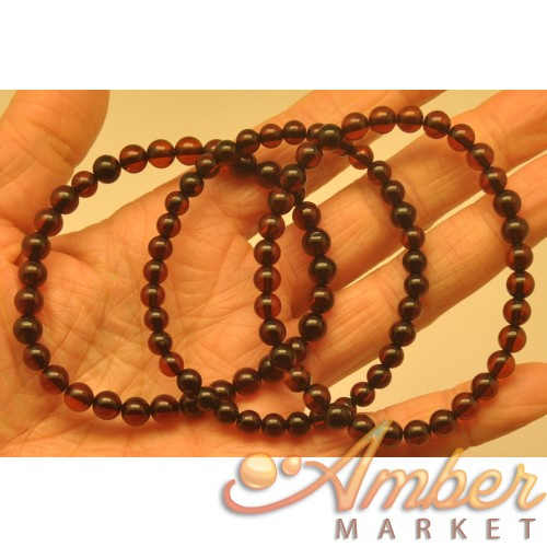 Lot of 3 round beads amber bracelets  5 - 6 mm.