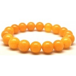 Round beads antique color amber bracelet 11 mm.