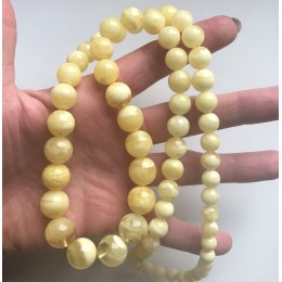 Long Natural AMBER NECKLACE Yellow - White Round Beads