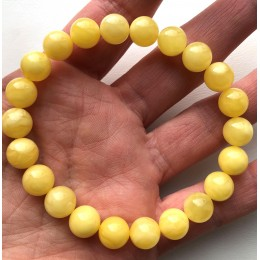 YELLOW Color Genuine Baltic Amber round bracelet 9mm