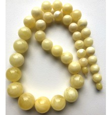 Natural AMBER NECKLACE White Round Beads
