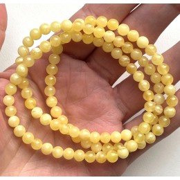3 Natural Amber Bracelets Round Beads 5mm