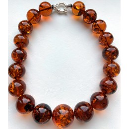 Large Natural Amber Round Beads Necklace 101 g.