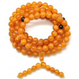 Unpolished elastic Tibetan Buddhist Mala Prayer 108 Baltic amber beads 7,2 mm