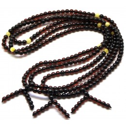 Lot of 3 Baltic amber Tibetan Buddhist Mala Prayer 108 beads 4,8 mm