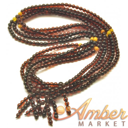 5  Tibetan Buddhist Mala Prayer 108 Baltic amber beads 4,7 mm