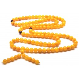 Elastic Tibetan Buddhist Mala Prayer 108 Baltic amber beads 7,2 mm