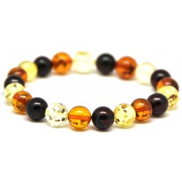 Multicolor round beads Baltic amber bracelet 9 - 10 mm.