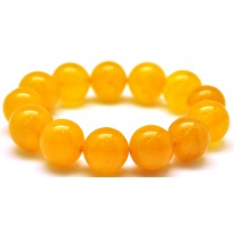 Natural round beads antique color Baltic amber bracelet 15 - 16 mm.