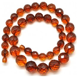 Round beads faceted cognac  Baltic amber necklace
