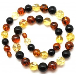 Round beads multicolor  Baltic amber necklace 43 g .