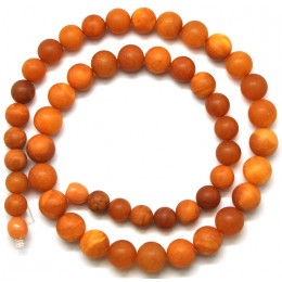 Antique unpolished Baltic amber round beads necklace