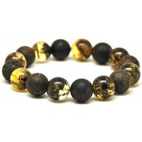 Round beads Baltic amber bracelet 13 - 14 mm.