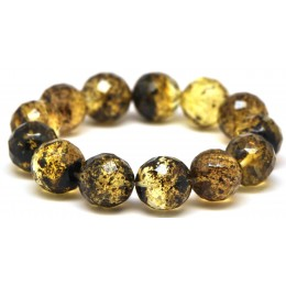 Faceted round beads Baltic amber bracelet 15 - 16 mm.