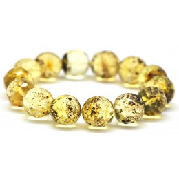 Faceted round beads Baltic amber bracelet 14 mm.