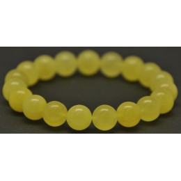Yellow round beads Baltic amber bracelet  10,7 mm.
