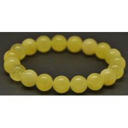 Yellow round beads Baltic amber bracelet  10,8 mm.