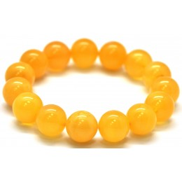 Natural round beads antique color Baltic amber bracelet 13 - 14 mm.