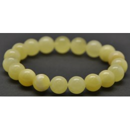 White round beads Baltic amber bracelet  10,8 mm.