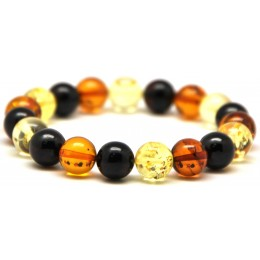 Multicolor round beads Baltic amber bracelet 10 mm.