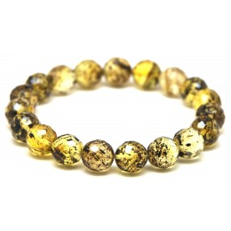 Faceted round beads Baltic amber bracelet 10,5 mm.