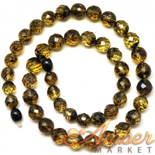 Faceted round beads Baltic amber  necklace