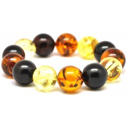 Round beads Baltic amber bracelet 15mm - 17 mm.