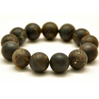 Raw healing round beads Baltic amber bracelet 16 mm .