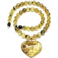 Baltic amber necklace with heart pendant